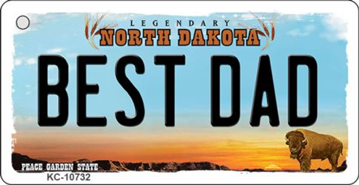 Best Dad North Dakota State License Plate Wholesale Key Chain KC-10732