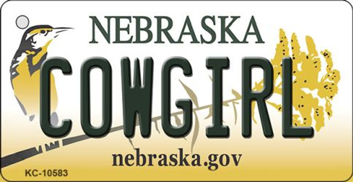 Cowgirl Nebraska State License Plate Novelty Wholesale Key Chain KC-10583
