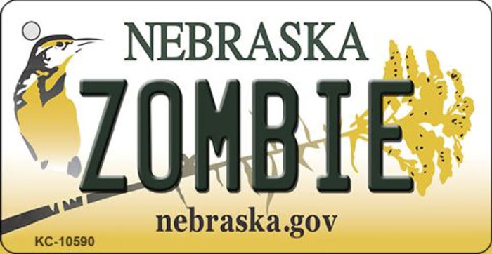 Zombie Nebraska State License Plate Novelty Wholesale Key Chain KC-10590