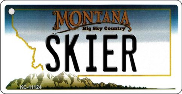 Skier Montana State License Plate Novelty Wholesale Key Chain KC-11124
