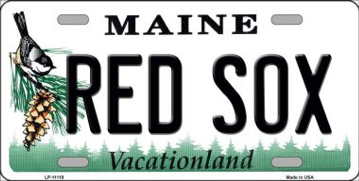 Red Sox Maine Background Wholesale Novelty License Plate