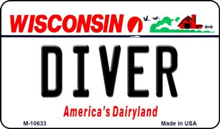 Diver Wisconsin State License Plate Novelty Wholesale Magnet M-10633