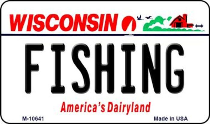 Fishing Wisconsin State License Plate Novelty Wholesale Magnet M-10641