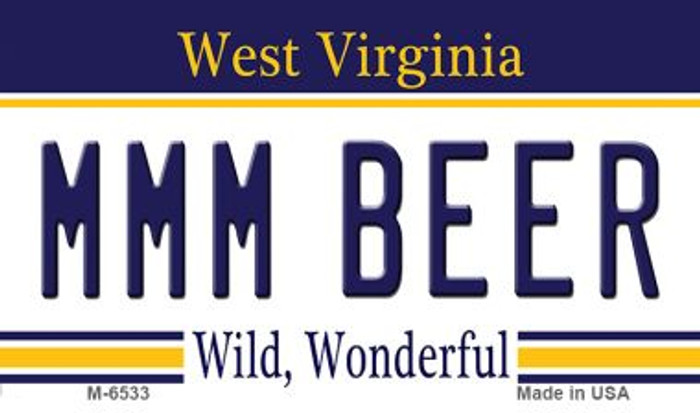 MMM Beer West Virginia State License Plate Wholesale Magnet M-6533