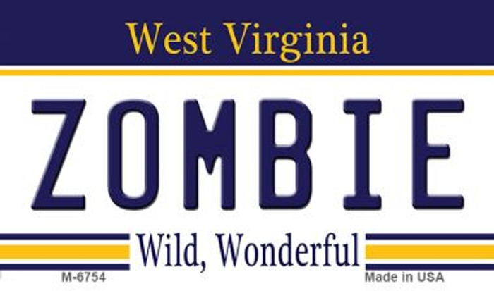 Zombie West Virginia State License Plate Wholesale Magnet M-6754