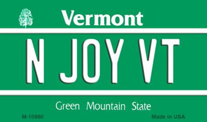 N Joy VT Vermont State License Plate Novelty Wholesale Magnet M-10660