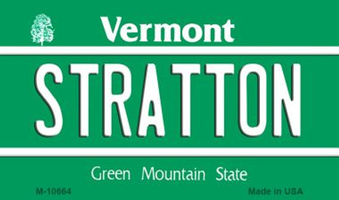 Stratton Vermont State License Plate Novelty Wholesale Magnet M-10664