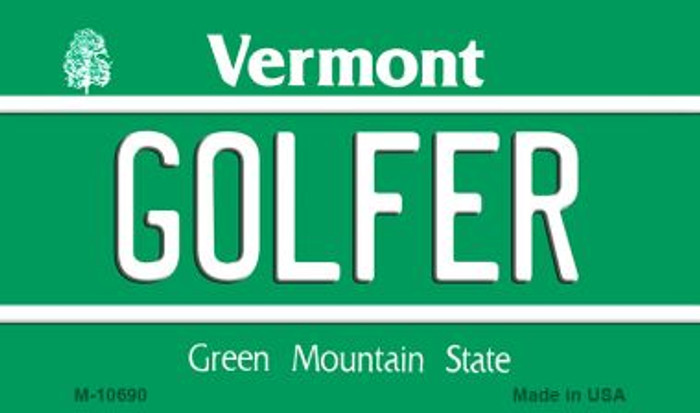 Golfer Vermont State License Plate Novelty Wholesale Magnet M-10690