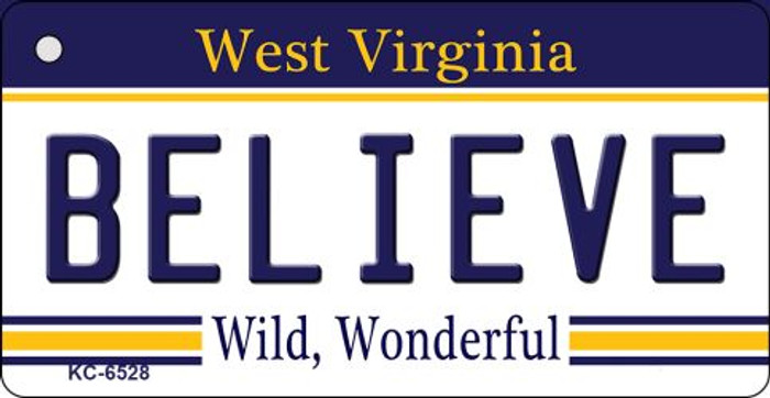 Believe West Virginia License Plate Wholesale Key Chain