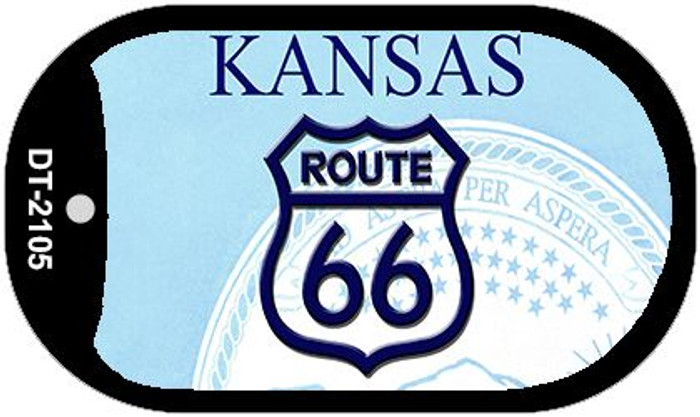 RT 66 Kansas State License Plate Novelty Wholesale Dog Tag Necklace DT-2105