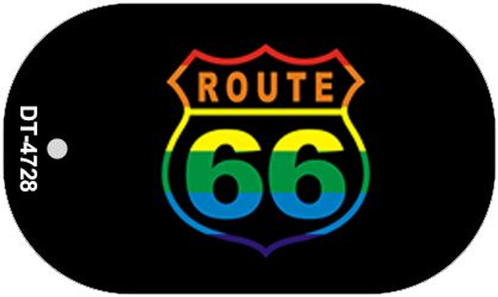 Route 66 Rainbow Flag Novelty Wholesale Dog Tag Necklace DT-4728