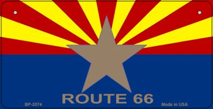 Arizona Flag with Route 66 Novelty Wholesale Bicycle License Plate BP-3574