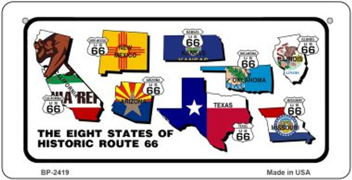 RT 66 Historic Eight Flags Novelty Wholesale Bicycle License Plate BP-2419