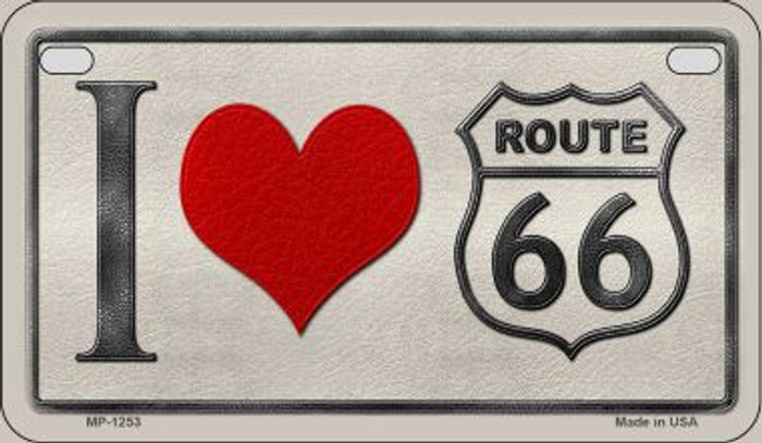 I Love Route 66 Novelty Wholesale Motorcycle License Plate MP-1253