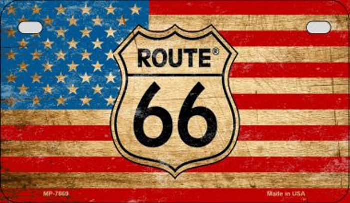 RT 66 American Flag Novelty Wholesale Motorcycle License Plate MP-7869