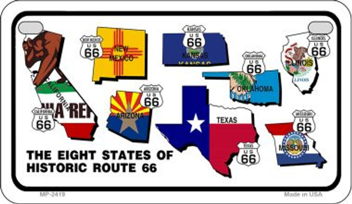 RT 66 Historic Eight Flags Novelty Wholesale Motorcycle License Plate MP-2419