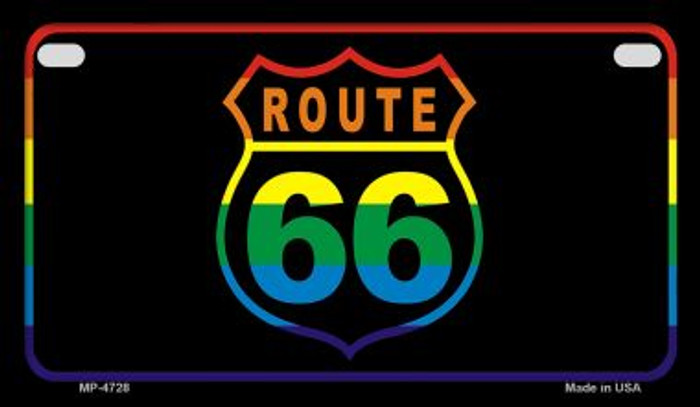 Route 66 Rainbow Flag Novelty Wholesale Motorcycle License Plate MP-4728