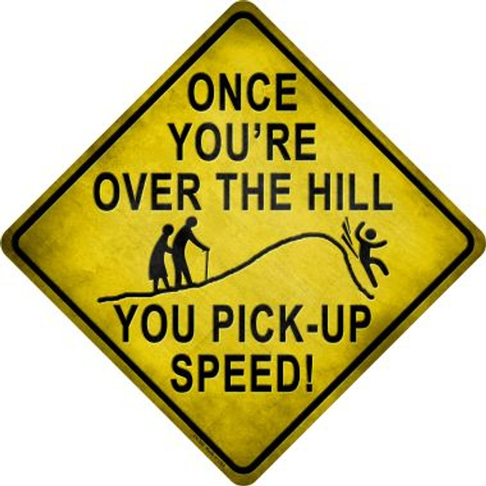 Over The Hill Xing Novelty Wholesale Crossing Sign