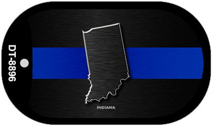 Indiana Thin Blue Line Novelty Wholesale Dog Tag Necklace DT-8896