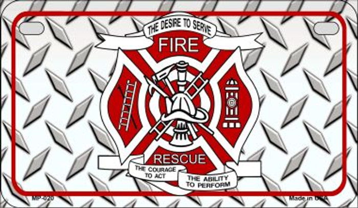 Fire Rescue Diamond Novelty Wholesale Motorcycle License Plate MP-020