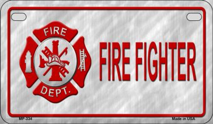 Fire Fighter Novelty Wholesale Motorcycle License Plate MP-334