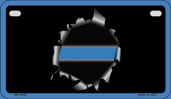 Thin Blue Line Bullet hole Novelty Wholesale Motorcycle License Plate MP-4665