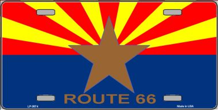 Route 66 Arizona Flag Wholesale Metal License Plate