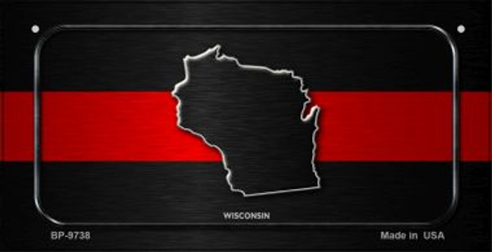 Wisconsin Thin Red Line Novelty Wholesale Bicycle License Plate BP-9738