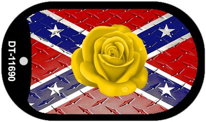 Confederate Yellow Rose Dog Tag Wholesale Novelty Necklace DT-11690