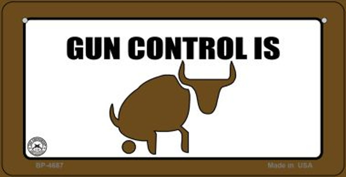 Gun Control Is Bull Wholesale Bicycle Plate BP-4687