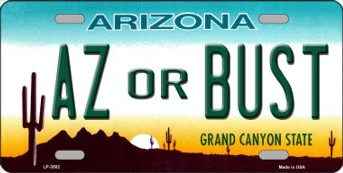 Arizona Az Or Bust Novelty Wholesale Metal License Plate
