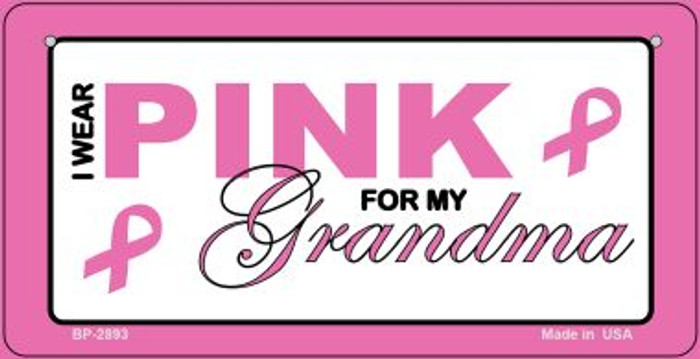 I Wear Pink For My Grandma Novelty Wholesale Bicycle Plate BP-2893