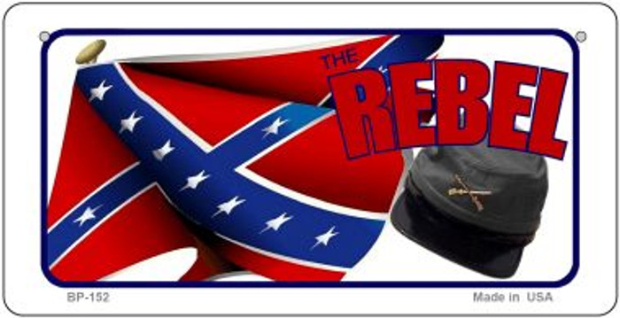 Rebel Cap and Flag Novelty Wholesale Bicycle Plate BP-152