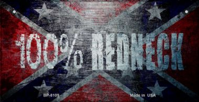 100 Percent Redneck Flag Novelty Wholesale Bicycle Plate BP-8109
