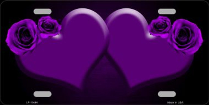 Hearts Over Roses In Purple Wholesale Novelty License Plate LP-11444