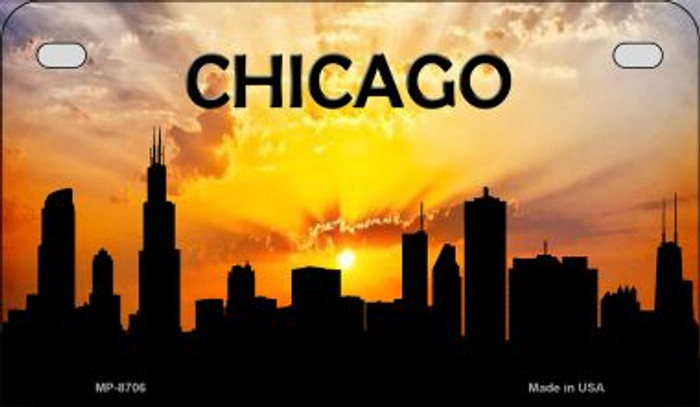 Chicago Silhouette Motorcycle License Plate MP-8706