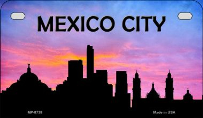 Mexico City Silhouette Motorcycle License Plate MP-8738