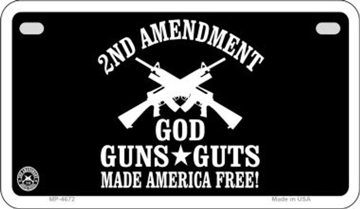 Gods Guns and Guts Wholesale Motorcycle License Plate MP-4672