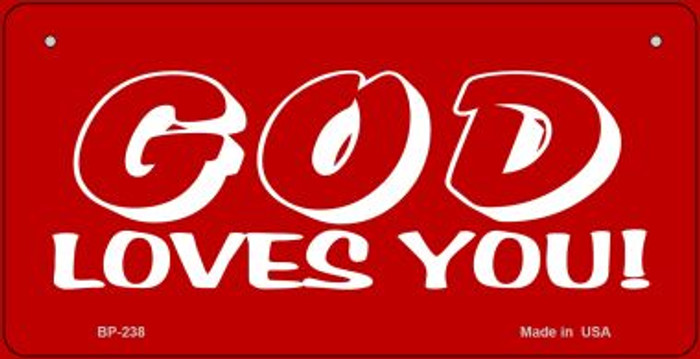 God Loves You Novelty Wholesale Bicycle License Plate BP-238
