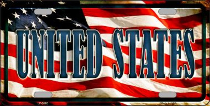 United States Flag Background Wholesale Metal Novelty License Plate