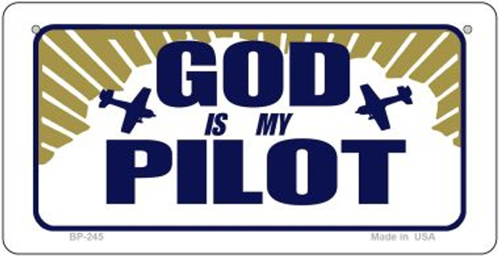 God Is My Pilot Novelty Wholesale Bicycle License Plate BP-245