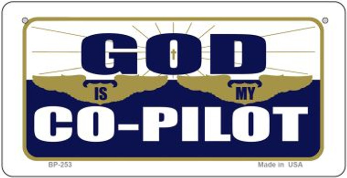 God Is My Pilot Novelty Wholesale Bicycle License Plate BP-253