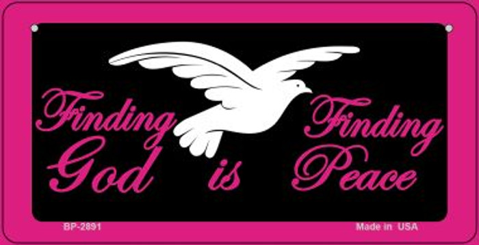 Finding God Is Finding Peace Black Novelty Wholesale Bicycle License Plate BP-2891