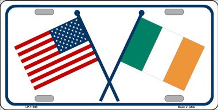 Ireland USA Crossed Flag Wholesale Novelty License Plate LP-11695