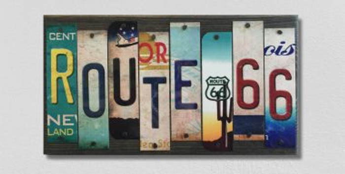 Route 66 License Plate Strip Wholesale Wood Sign WS-005