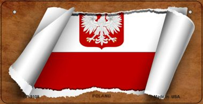 Poland / Eagle Flag Scroll Wholesale Novelty Bicycle Plate BP-9109