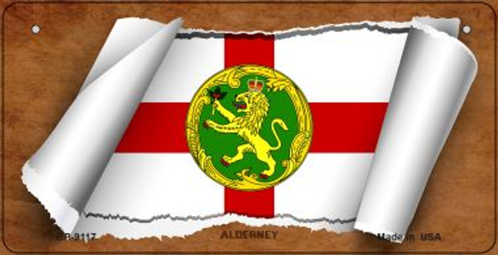 Alderney Flag Scroll Wholesale Novelty Bicycle Plate BP-9117