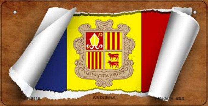 Andorra Flag Scroll Wholesale Novelty Bicycle Plate BP-9119
