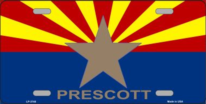 Prescott Arizona State Flag Wholesale Metal Novelty License Plate LP-3740