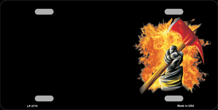 Firefighter Flaming Ax Offset Wholesale Metal Novelty License Plate